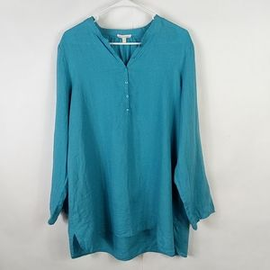 Eileen Fisher Popover Tunic Blue 100% Linen Large